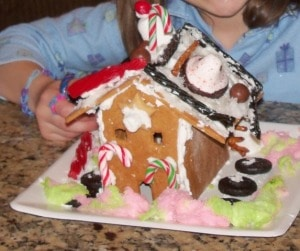 gingerbread house made by child
