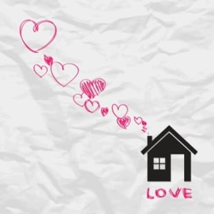 house with hearts from chimney