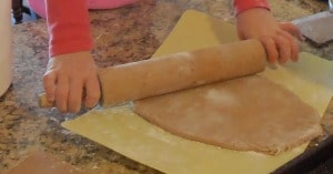 rolling dough for gingerbread house