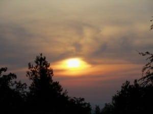 sunrise in dark clouds