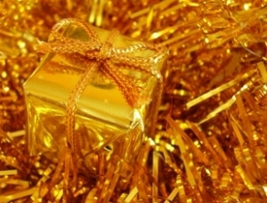 gift wrapped in gold