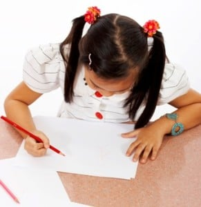 girl about to draw a picture