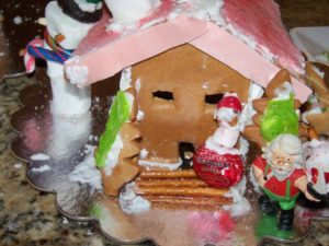 gingerbread house with pink roof